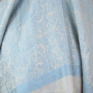 Pashima Accessories - Pashima and Silk Scarf/Wrap   Blue and Cream  OS